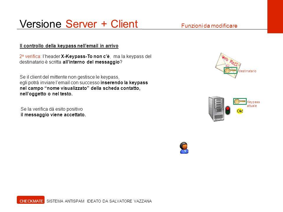 Versione Server + Client Funzioni da modificare CHECKMATE SISTEMA ANTISPAM IDEATO DA SALVATORE VAZZANA destinatario Il controllo della keypass nellema