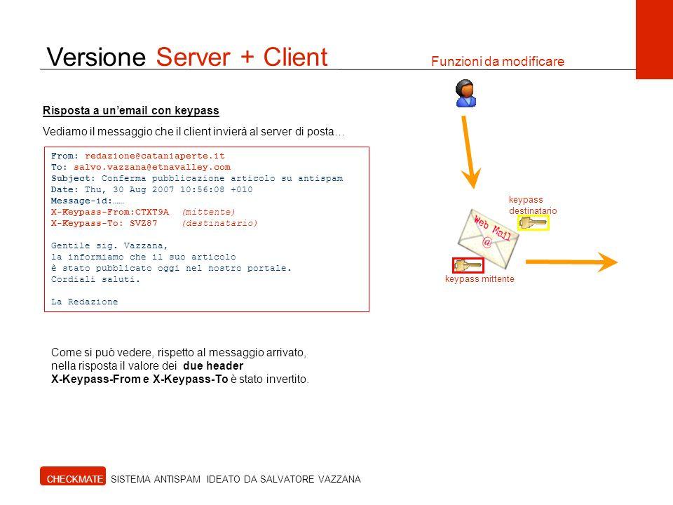 Versione Server + Client Funzioni da modificare CHECKMATE SISTEMA ANTISPAM IDEATO DA SALVATORE VAZZANA From: redazione@cataniaperte.it To: salvo.vazza