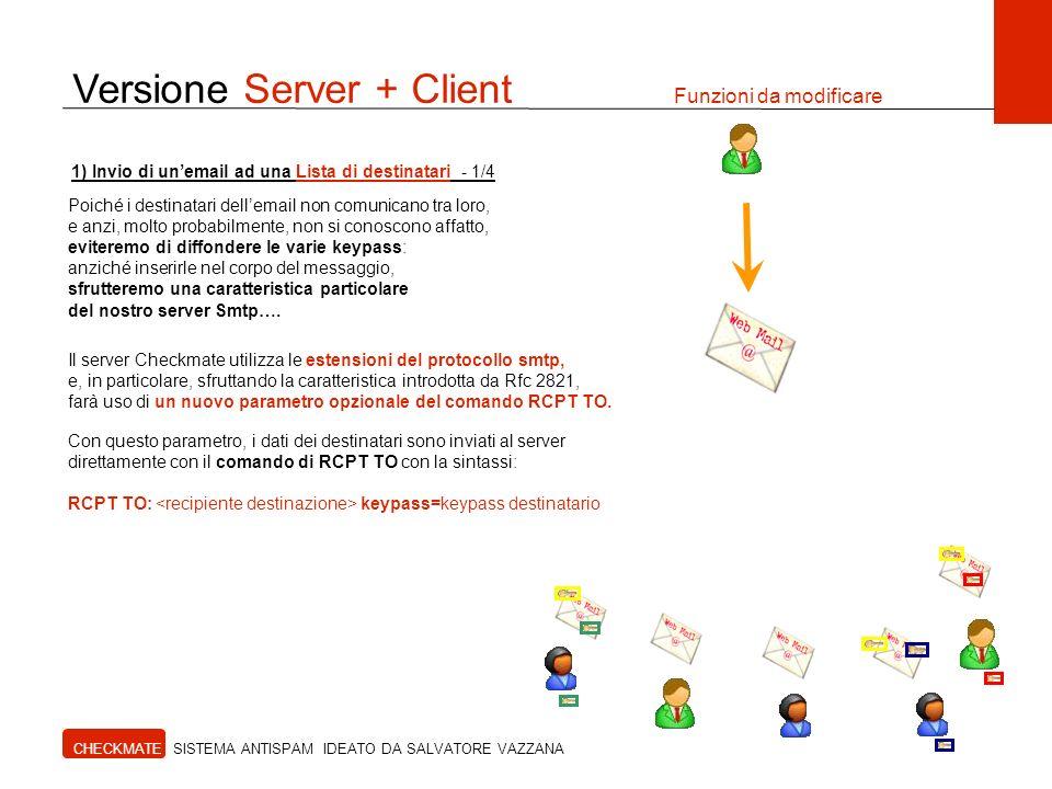 Versione Server + Client Funzioni da modificare CHECKMATE SISTEMA ANTISPAM IDEATO DA SALVATORE VAZZANA 1) Invio di unemail ad una Lista di destinatari