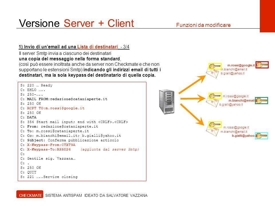 Versione Server + Client Funzioni da modificare CHECKMATE SISTEMA ANTISPAM IDEATO DA SALVATORE VAZZANA Il server Smtp invia a ciascuno dei destinatari