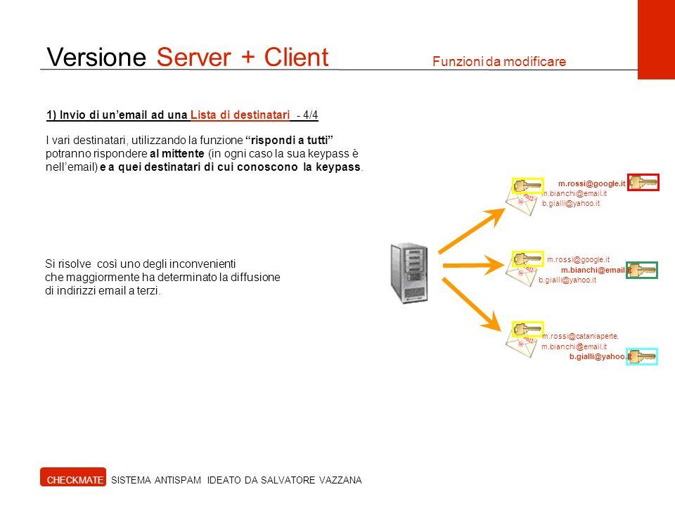 Versione Server + Client Funzioni da modificare CHECKMATE SISTEMA ANTISPAM IDEATO DA SALVATORE VAZZANA I vari destinatari, utilizzando la funzione ris