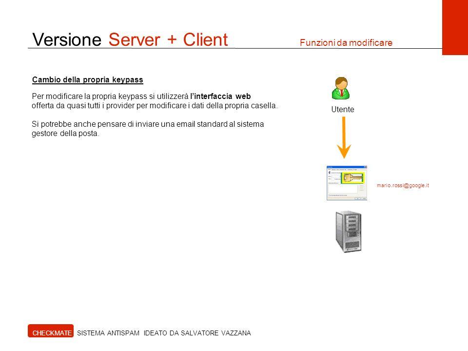 Versione Server + Client Funzioni da modificare CHECKMATE SISTEMA ANTISPAM IDEATO DA SALVATORE VAZZANA Utente Per modificare la propria keypass si uti