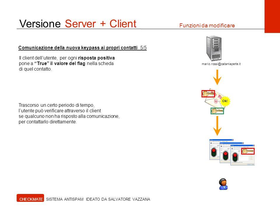 Versione Server + Client Funzioni da modificare CHECKMATE SISTEMA ANTISPAM IDEATO DA SALVATORE VAZZANA Il client dellutente, per ogni risposta positiv