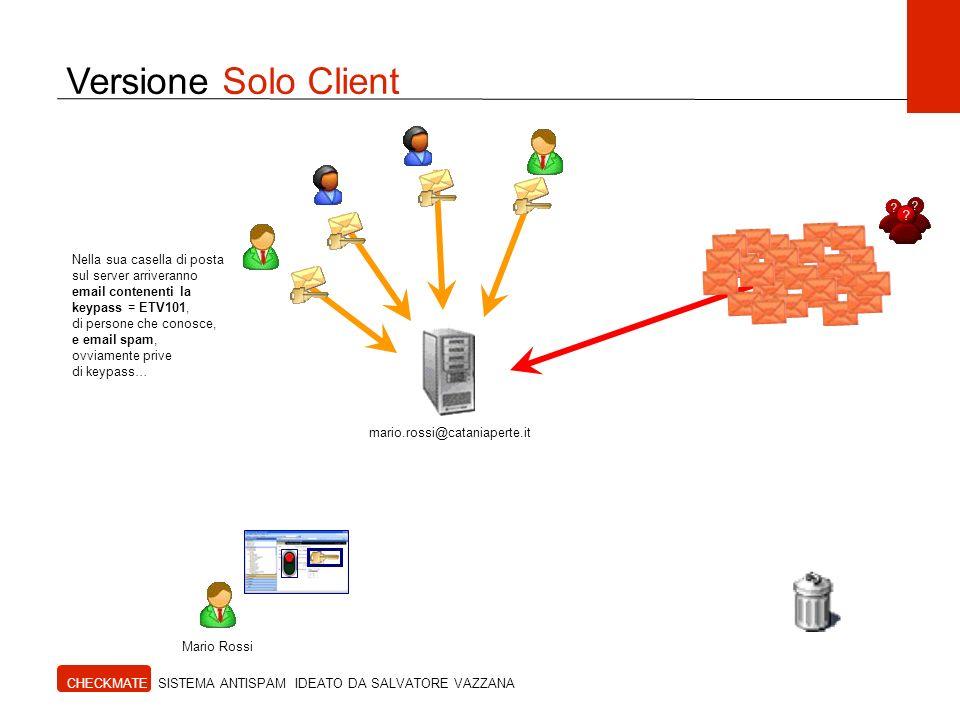 Versione Solo Client CHECKMATE SISTEMA ANTISPAM IDEATO DA SALVATORE VAZZANA Mario Rossi mario.rossi@cataniaperte.it Nella sua casella di posta sul ser