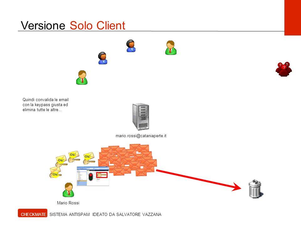 Versione Solo Client CHECKMATE SISTEMA ANTISPAM IDEATO DA SALVATORE VAZZANA Mario Rossi Quindi convalida le email con la keypass giusta ed elimina tut