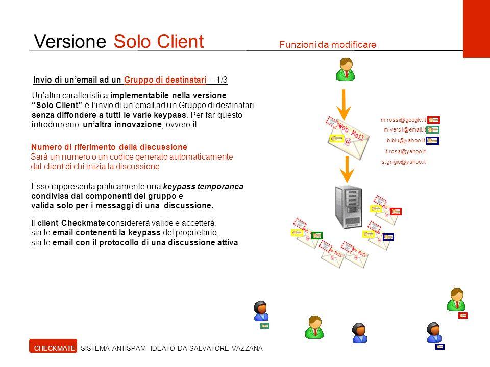 Versione Solo Client Funzioni da modificare CHECKMATE SISTEMA ANTISPAM IDEATO DA SALVATORE VAZZANA Invio di unemail ad un Gruppo di destinatari - 1/3