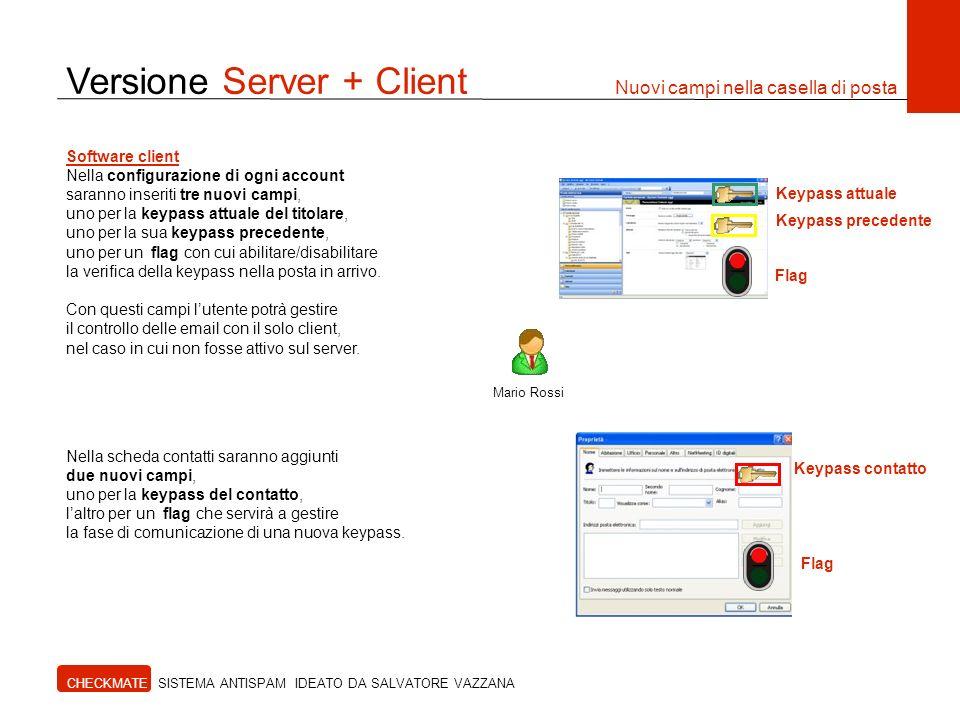 Versione Server + Client Nuovi campi nella casella di posta CHECKMATE SISTEMA ANTISPAM IDEATO DA SALVATORE VAZZANA Mario Rossi Software client Nella c