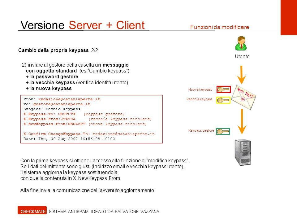 Versione Server + Client Funzioni da modificare CHECKMATE SISTEMA ANTISPAM IDEATO DA SALVATORE VAZZANA Utente 2) inviare al gestore della casella un m