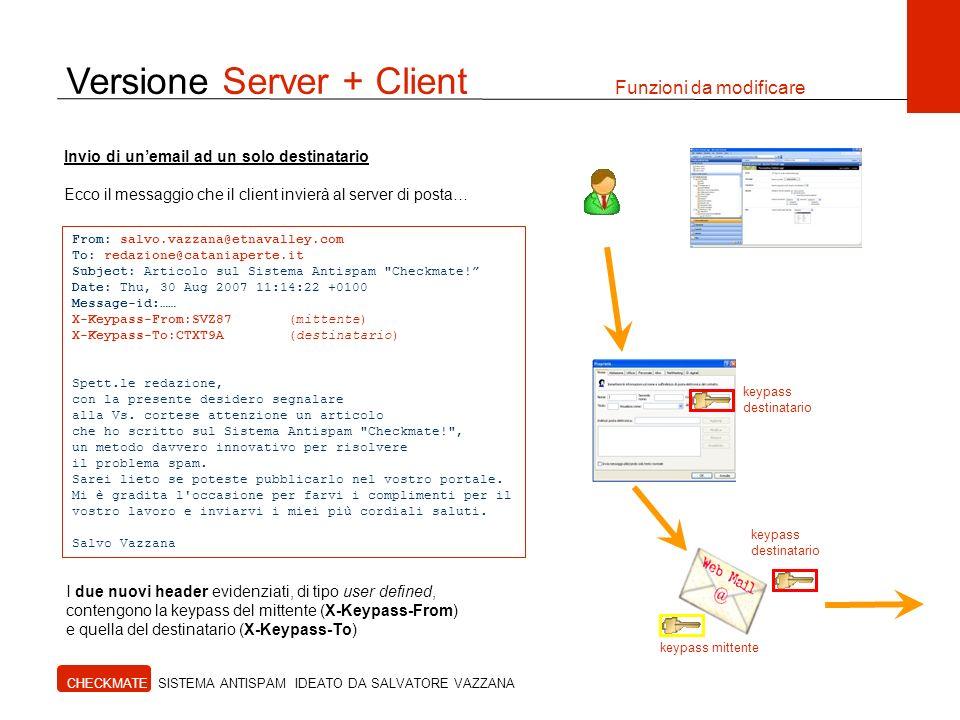 Versione Server + Client Funzioni da modificare CHECKMATE SISTEMA ANTISPAM IDEATO DA SALVATORE VAZZANA Invio di unemail ad un solo destinatario Ecco i