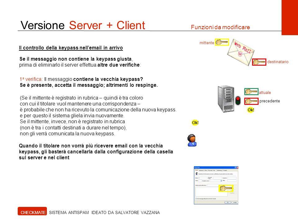 Versione Server + Client Funzioni da modificare CHECKMATE SISTEMA ANTISPAM IDEATO DA SALVATORE VAZZANA Il controllo della keypass nellemail in arrivo