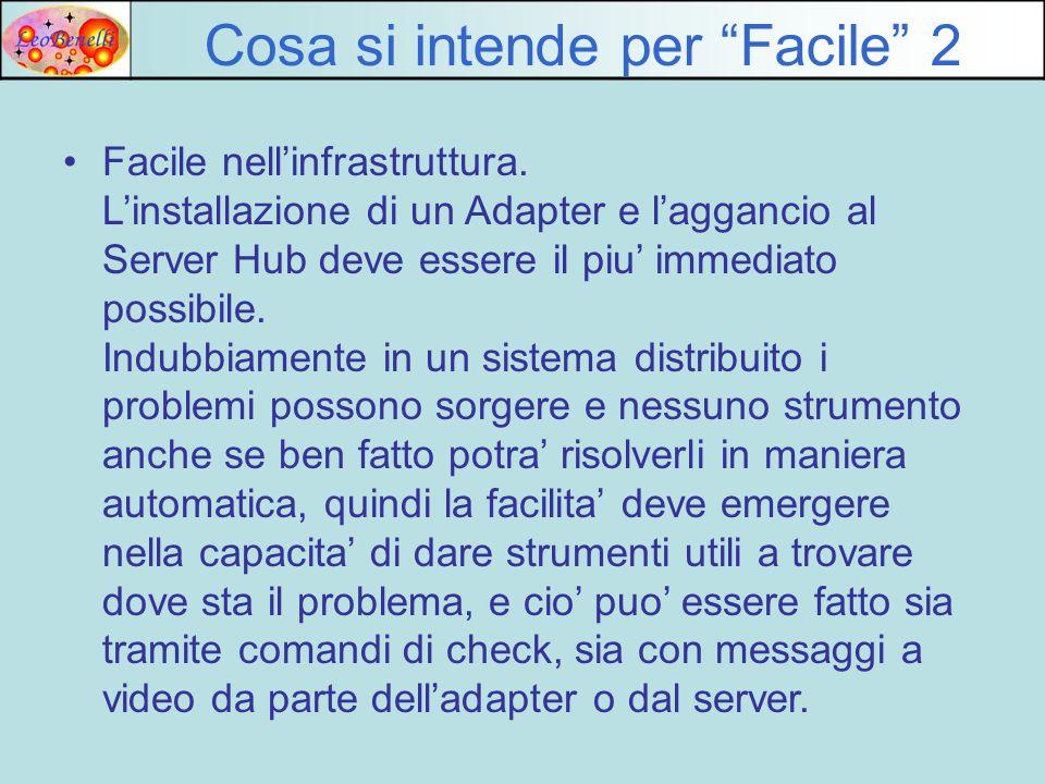 Cosa si intende per Facile 2 Facile nellinfrastruttura. Linstallazione di un Adapter e laggancio al Server Hub deve essere il piu immediato possibile.