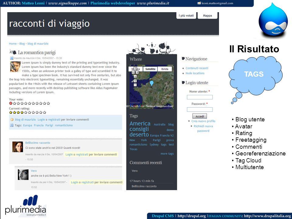 Il risultato finale Il Risultato Blog utente Avatar Rating Freetagging Commenti Georeferenziazione Tag Cloud Multiutente TAGS