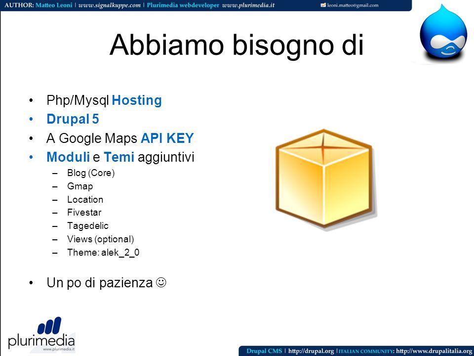 Abbiamo bisogno di Php/Mysql Hosting Drupal 5 A Google Maps API KEY Moduli e Temi aggiuntivi –Blog (Core) –Gmap –Location –Fivestar –Tagedelic –Views