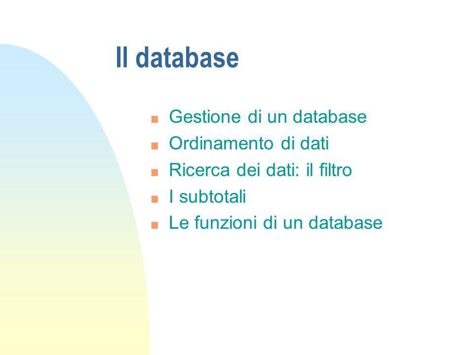 Il database n Gestione di un database n Ordinamento di dati n Ricerca dei dati: il filtro n I subtotali n Le funzioni di un database