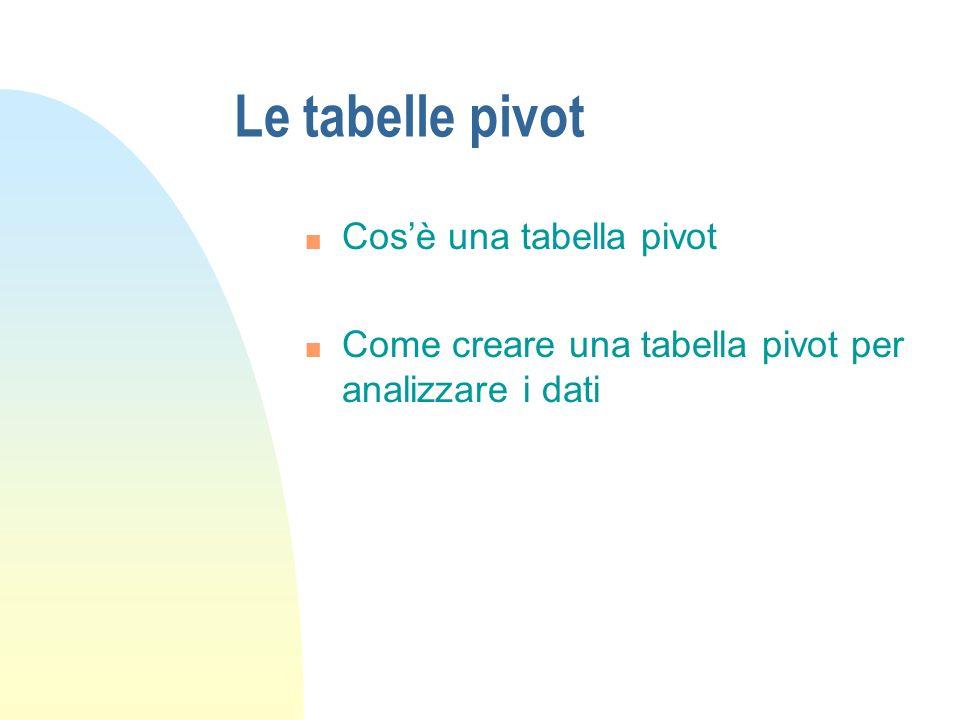 Le tabelle pivot n Cosè una tabella pivot n Come creare una tabella pivot per analizzare i dati