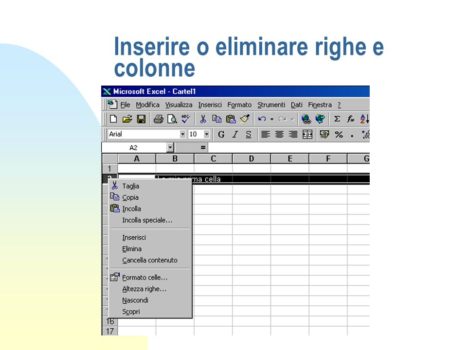Formattazione dei fogli (2) n Allineare il testo in una cella n Applicare formati ai valori numerici n Formattare i caratteri n Aggiungere bordature ed ombreggiature n Copiare ed incollare formati