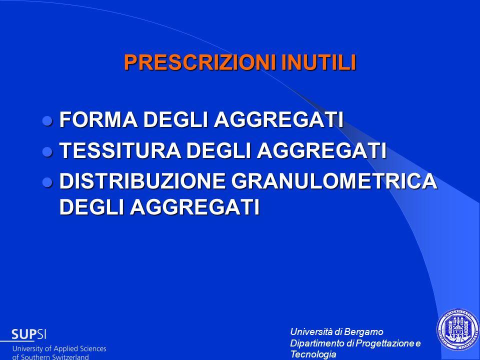 Università di Bergamo Dipartimento di Progettazione e Tecnologia PRESCRIZIONI INUTILI FORMA DEGLI AGGREGATI FORMA DEGLI AGGREGATI TESSITURA DEGLI AGGR