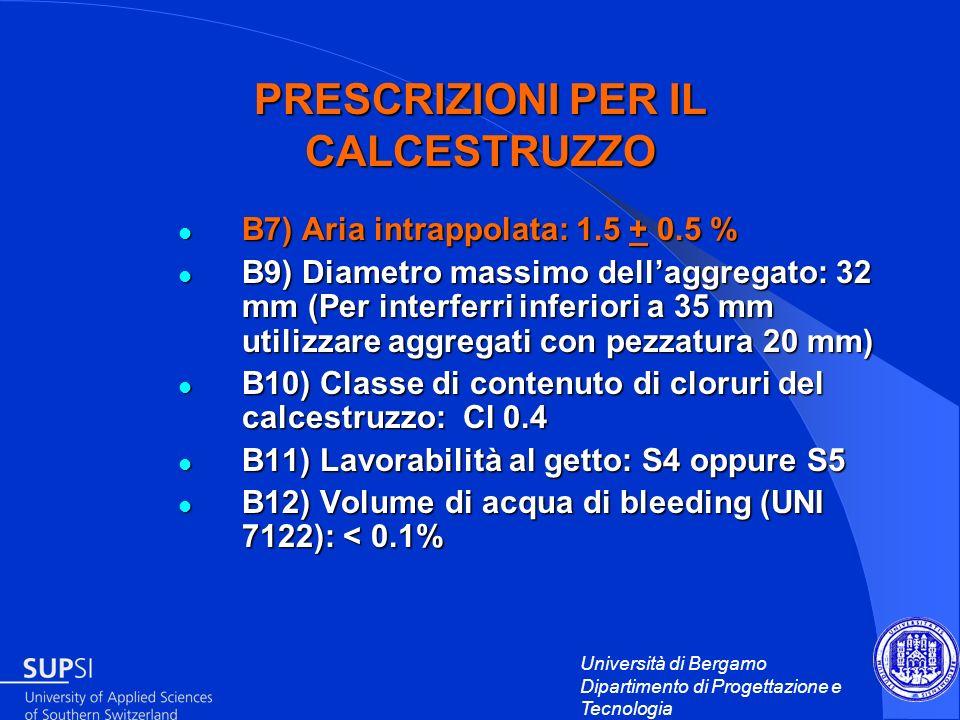 Università di Bergamo Dipartimento di Progettazione e Tecnologia PRESCRIZIONI PER IL CALCESTRUZZO B7) Aria intrappolata: 1.5 + 0.5 % B7) Aria intrappo