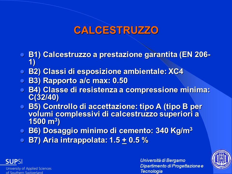 Università di Bergamo Dipartimento di Progettazione e Tecnologia CALCESTRUZZO B1) Calcestruzzo a prestazione garantita (EN 206- 1) B1) Calcestruzzo a