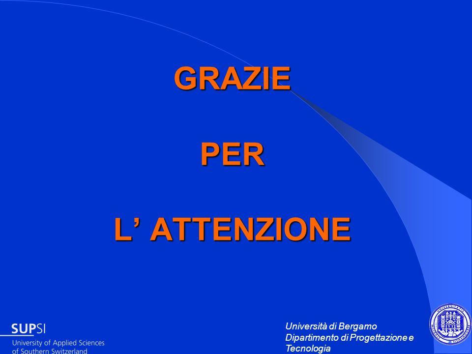 Università di Bergamo Dipartimento di Progettazione e Tecnologia GRAZIE PER L ATTENZIONE