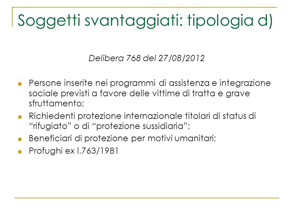 Soggetti svantaggiati: tipologia d) Delibera 768 del 27/08/2012 Persone inserite nei programmi di assistenza e integrazione sociale previsti a favore