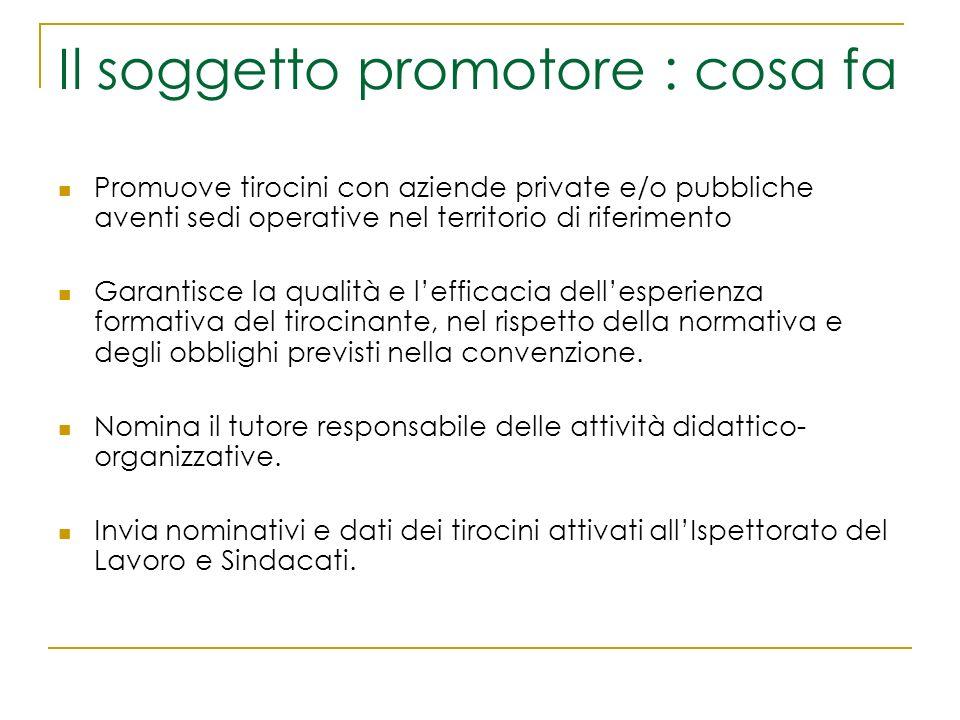 Il soggetto promotore : cosa fa Promuove tirocini con aziende private e/o pubbliche aventi sedi operative nel territorio di riferimento Garantisce la