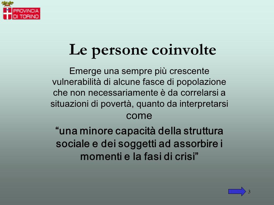 2 Un nuovo fenomeno sociale Il perdurare nella provincia di Torino della crisi industriale e manifatturiera, le trasformazioni del mercato del lavoro