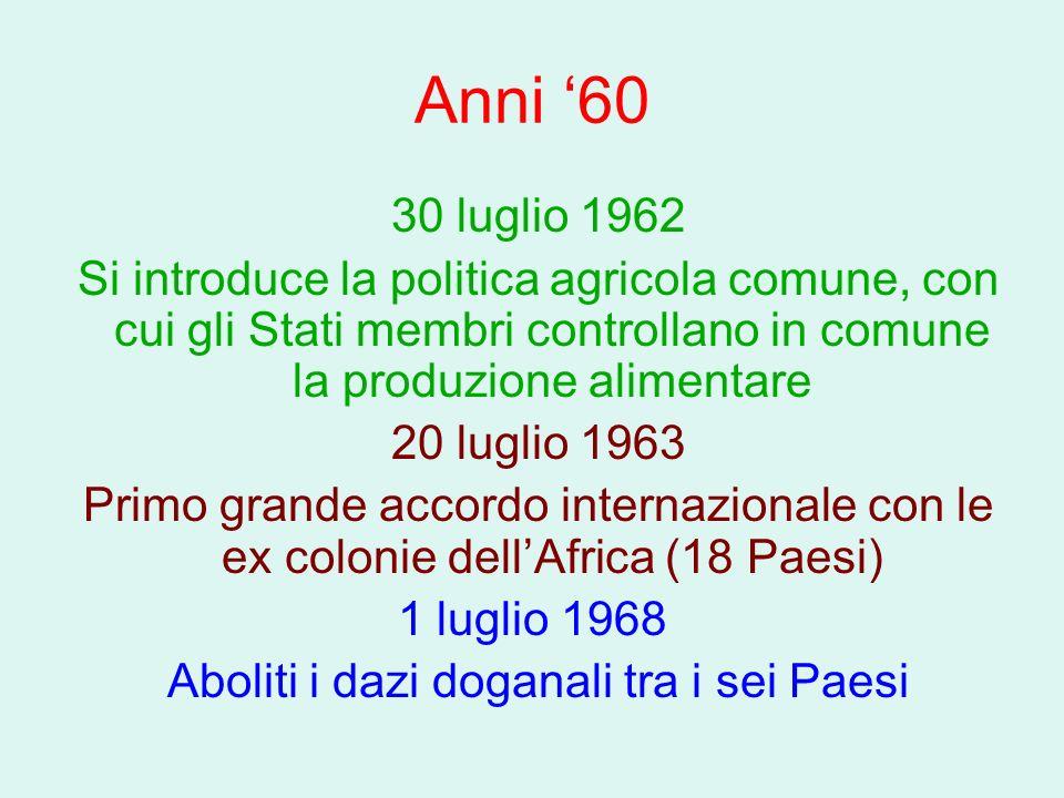 Anni 60 30 luglio 1962 Si introduce la politica agricola comune, con cui gli Stati membri controllano in comune la produzione alimentare 20 luglio 196