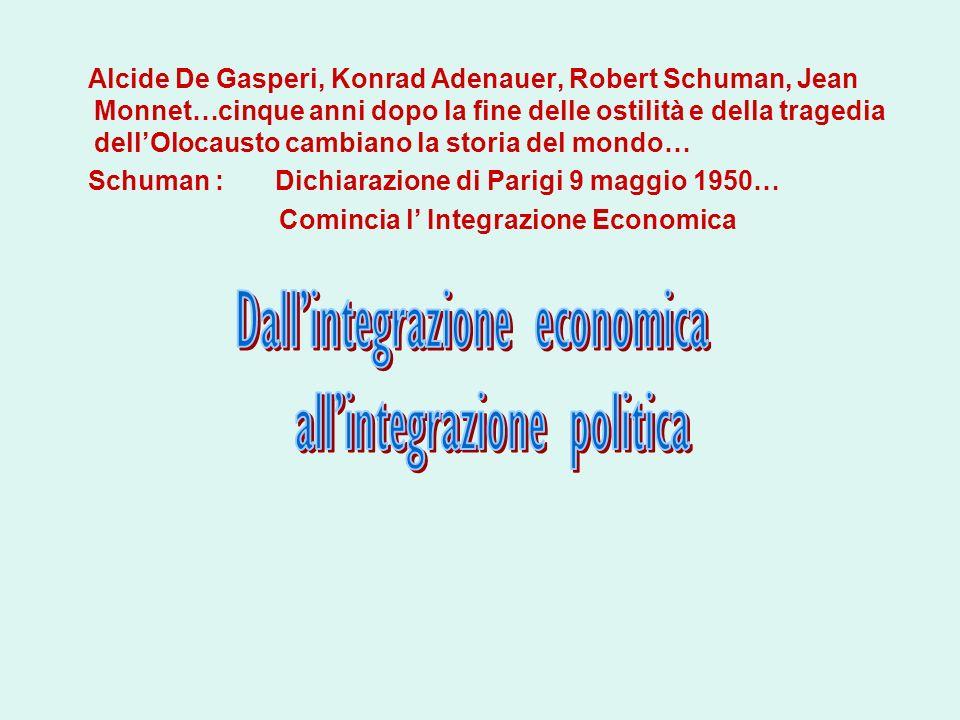 Alcide De Gasperi, Konrad Adenauer, Robert Schuman, Jean Monnet…cinque anni dopo la fine delle ostilità e della tragedia dellOlocausto cambiano la sto