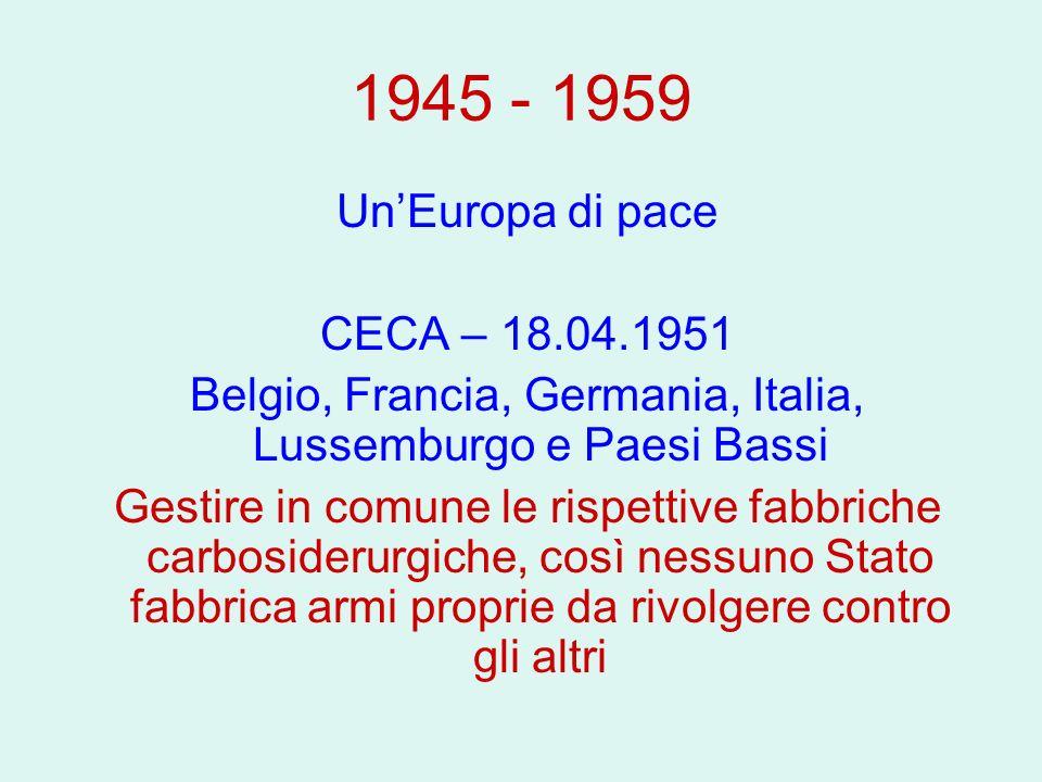 1945 - 1959 UnEuropa di pace CECA – 18.04.1951 Belgio, Francia, Germania, Italia, Lussemburgo e Paesi Bassi Gestire in comune le rispettive fabbriche