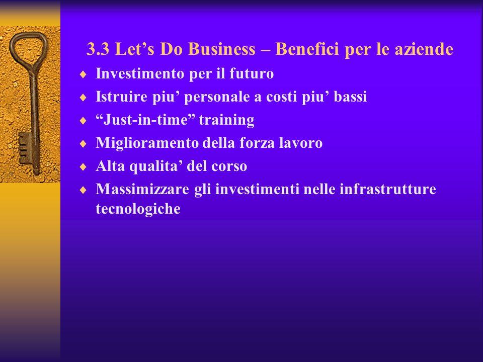 3.3 Lets Do Business – Benefici per le aziende Investimento per il futuro Istruire piu personale a costi piu bassi Just-in-time training Miglioramento