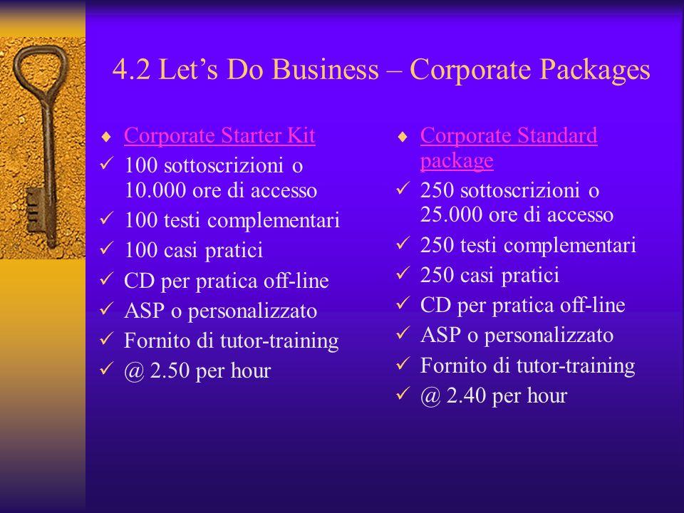 4.2 Lets Do Business – Corporate Packages Corporate Starter Kit 100 sottoscrizioni o 10.000 ore di accesso 100 testi complementari 100 casi pratici CD