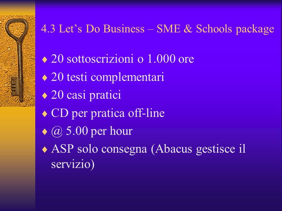 4.3 Lets Do Business – SME & Schools package 20 sottoscrizioni o 1.000 ore 20 testi complementari 20 casi pratici CD per pratica off-line @ 5.00 per h