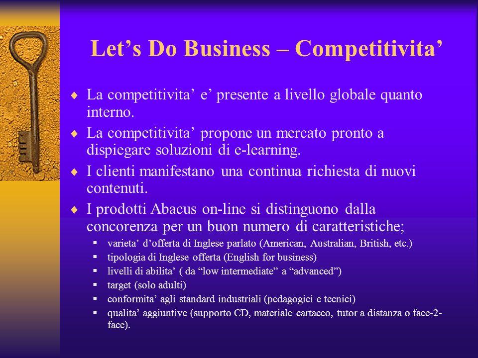 Lets Do Business – Competitivita La competitivita e presente a livello globale quanto interno. La competitivita propone un mercato pronto a dispiegare
