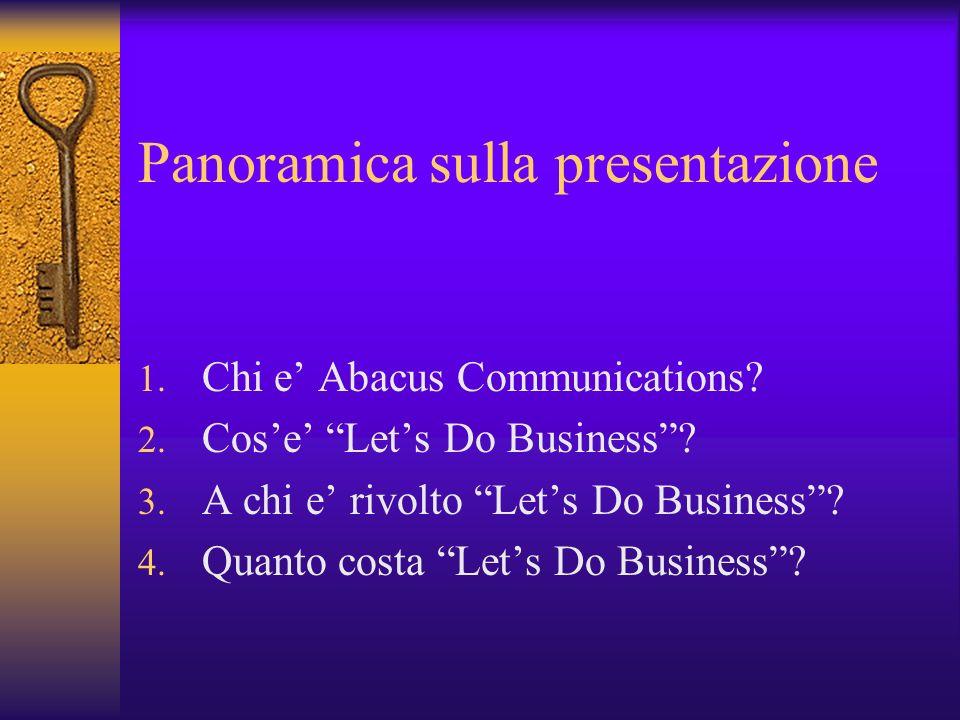Panoramica sulla presentazione 1. Chi e Abacus Communications? 2. Cose Lets Do Business? 3. A chi e rivolto Lets Do Business? 4. Quanto costa Lets Do