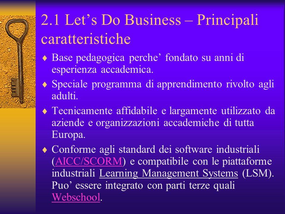 2.1 Lets Do Business – Principali caratteristiche Base pedagogica perche fondato su anni di esperienza accademica. Speciale programma di apprendimento