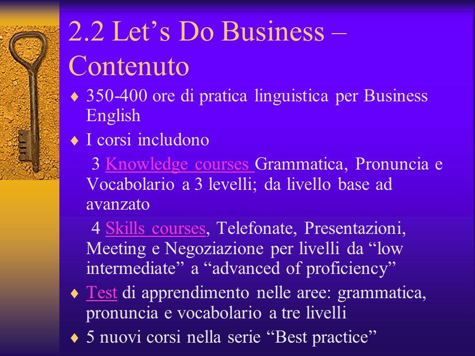 2.2 Lets Do Business – Contenuto 350-400 ore di pratica linguistica per Business English I corsi includono 3 Knowledge courses Grammatica, Pronuncia e