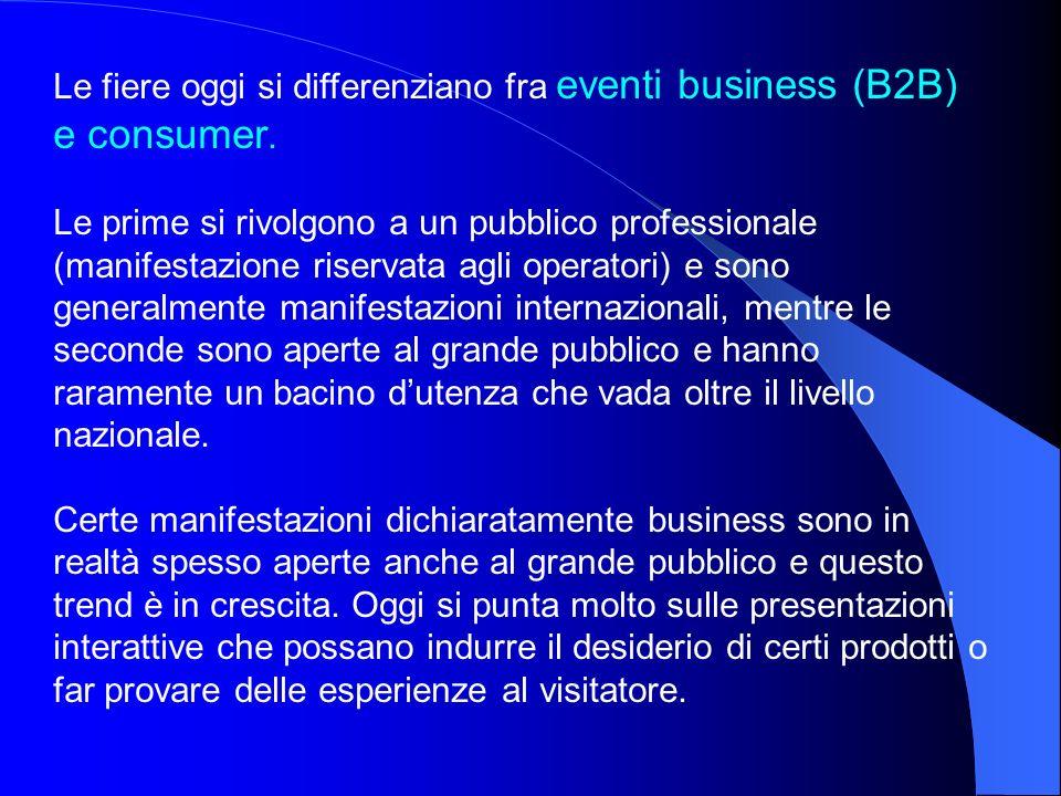 Le fiere oggi si differenziano fra eventi business (B2B) e consumer. Le prime si rivolgono a un pubblico professionale (manifestazione riservata agli