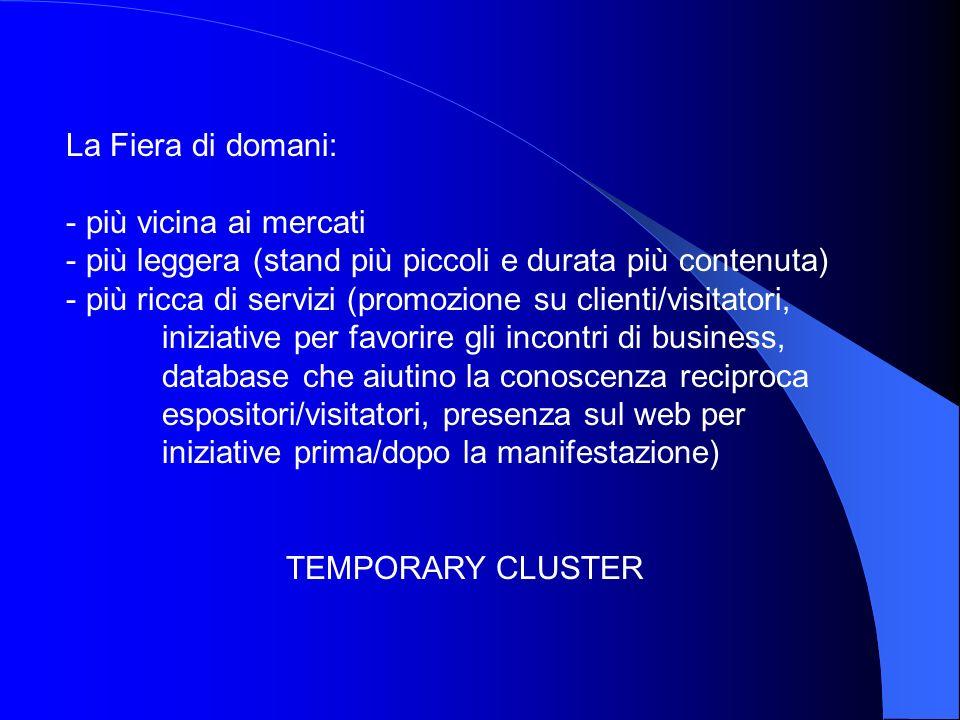 La Fiera di domani: - più vicina ai mercati - più leggera (stand più piccoli e durata più contenuta) - più ricca di servizi (promozione su clienti/vis