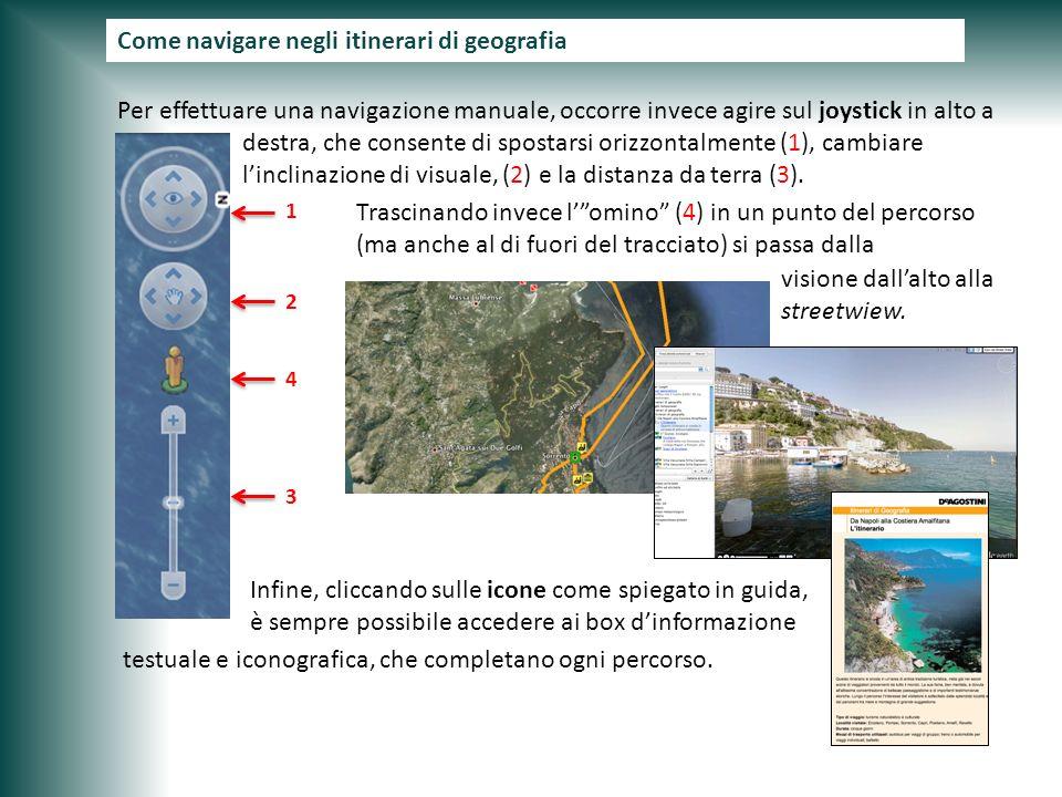 Come navigare negli itinerari di geogarfia Per effettuare una navigazione manuale, occorre invece agire sul joystick in alto a destra, che consente di