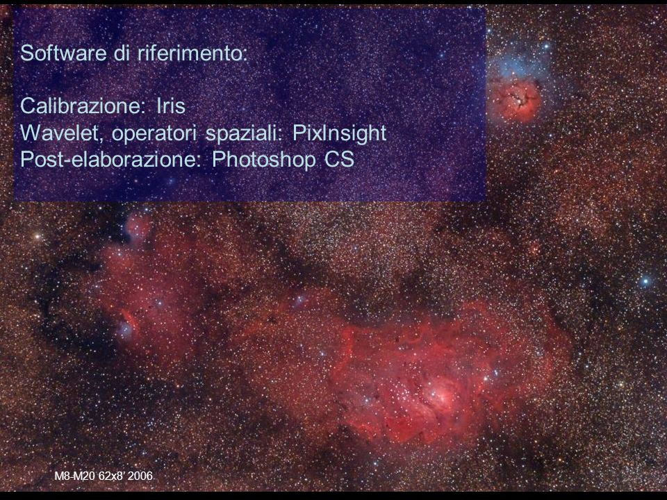 M8-M20 62x Software di riferimento: Calibrazione: Iris Wavelet, operatori spaziali: PixInsight Post-elaborazione: Photoshop CS