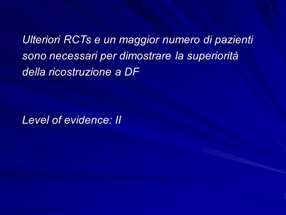 Ulteriori RCTs e un maggior numero di pazienti sono necessari per dimostrare la superiorità della ricostruzione a DF Level of evidence: II