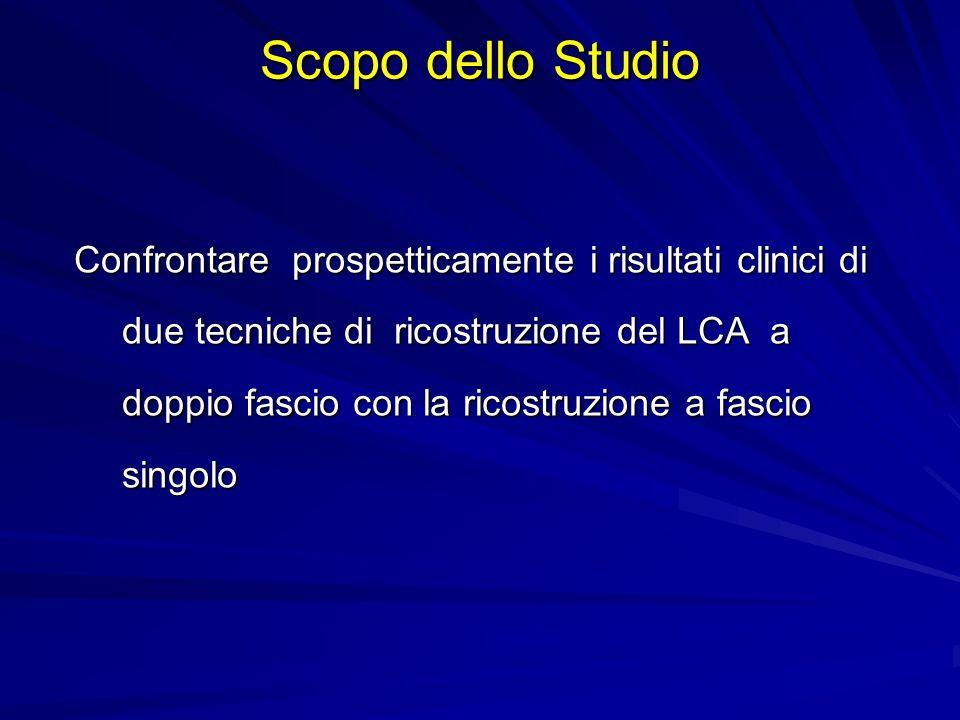 Confrontare prospetticamente i risultati clinici di due tecniche di ricostruzione del LCA a doppio fascio con la ricostruzione a fascio singolo Scopo