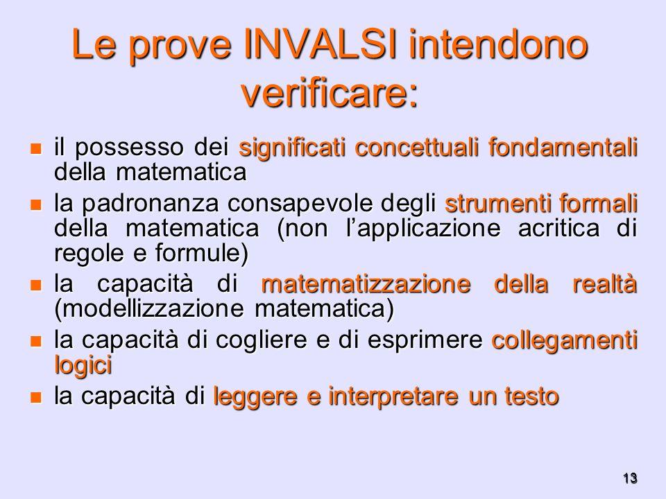 13 Le prove INVALSI intendono verificare: il possesso dei significati concettuali fondamentali della matematica il possesso dei significati concettual