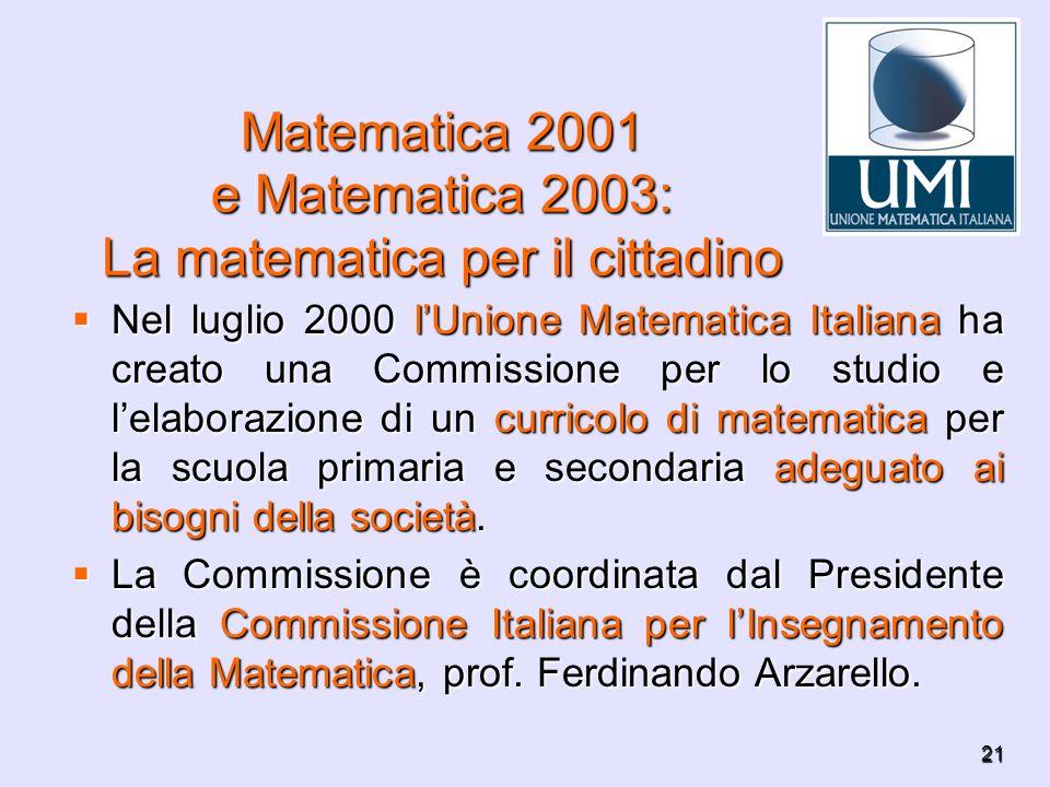 21 Matematica 2001 e Matematica 2003: La matematica per il cittadino Nel luglio 2000 lUnione Matematica Italiana ha creato una Commissione per lo stud