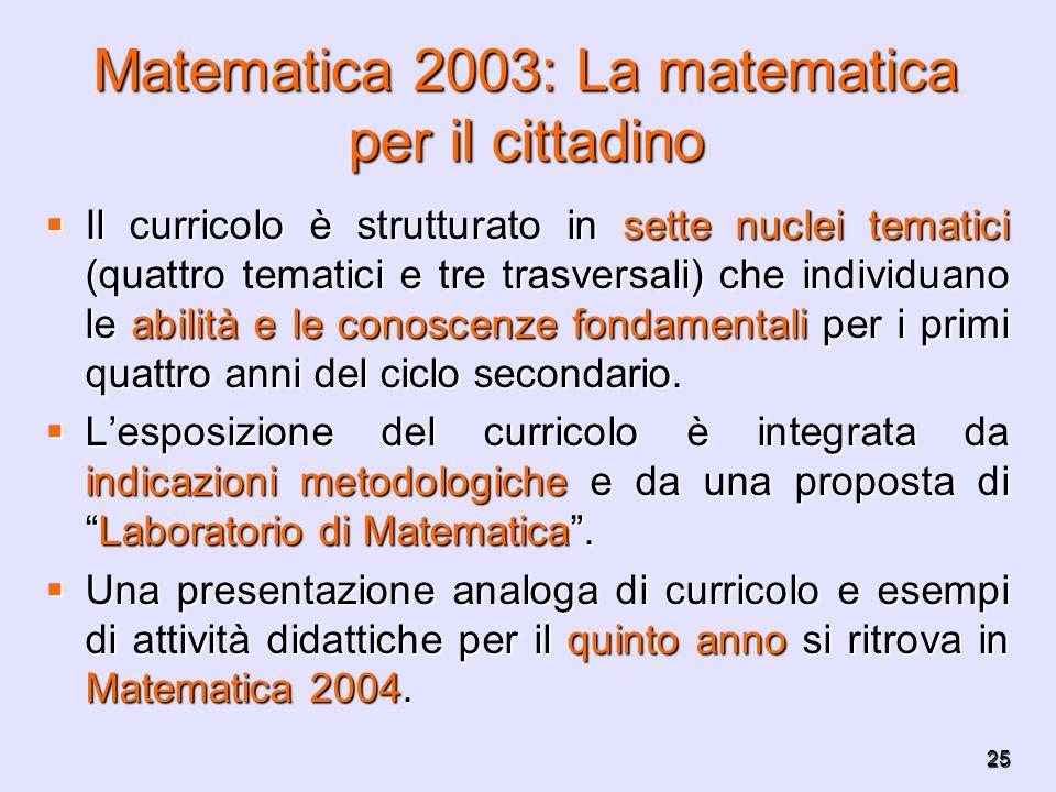 25 Matematica 2003: La matematica per il cittadino Il curricolo è strutturato in sette nuclei tematici (quattro tematici e tre trasversali) che indivi