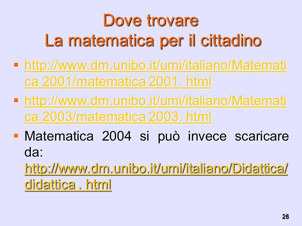 26 Dove trovare La matematica per il cittadino http://www.dm.unibo.it/umi/italiano/Matemati ca 2001/matematica 2001. html http://www.dm.unibo.it/umi/i