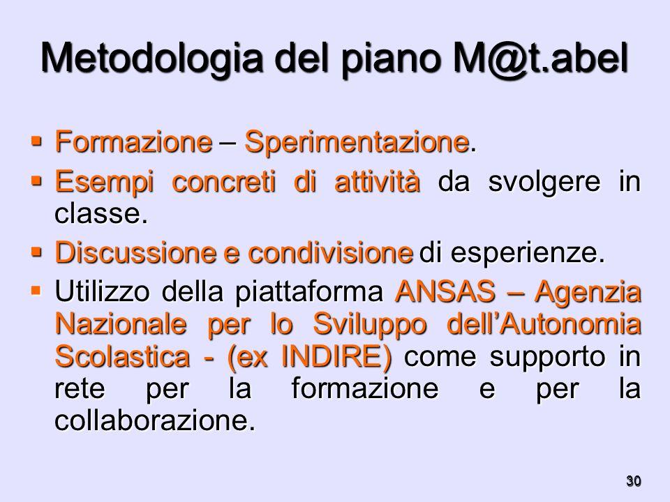 30 Metodologia del piano M@t.abel Formazione – Sperimentazione. Formazione – Sperimentazione. Esempi concreti di attività da svolgere in classe. Esemp