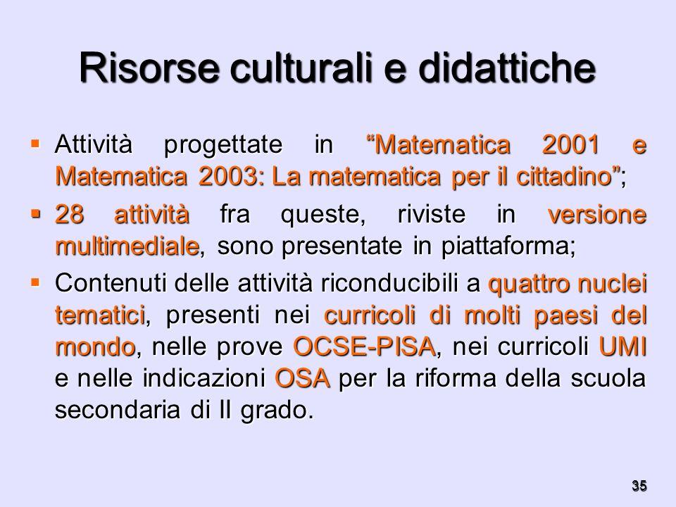35 Risorse culturali e didattiche Attività progettate in Matematica 2001 e Matematica 2003: La matematica per il cittadino; Attività progettate in Mat