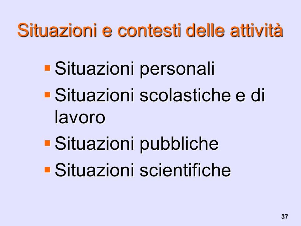 37 Situazioni e contesti delle attività Situazioni personali Situazioni personali Situazioni scolastiche e di lavoro Situazioni scolastiche e di lavor